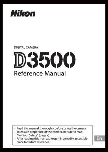 Nikon D3500 Instruction Owner User