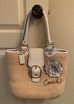 Coach Bleecker Straw Handbag w/ White Leather Accents GREAT Pre-Owned Condition