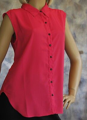 NWT W118 Walter Baker Cap Sleeve Blouse S Top Shirt 100% Poly Watermelon PInk