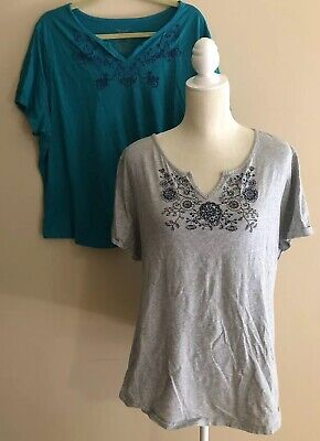 Lot of 2 Faded Glory 100% Cotton Collar Embellished Tops Size 3X (22W-24W) for sale  Chagrin Falls