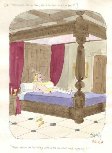 ORIGINAL PLAYBOY COLOR CARTOON ART BY SMILBY FRANCIS WILFORD-SMITH MIRROR MIRROR