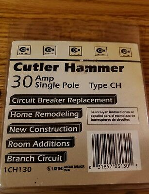 Cutler-hammer Circuit Breaker Ch-130 30amp Single Pole 120240 Vac