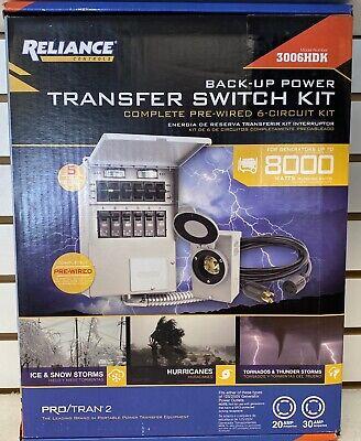 Reliance Controls Transfer Switch 3006hdk 8000 Watts Generator 6 Circuit 30a Kit