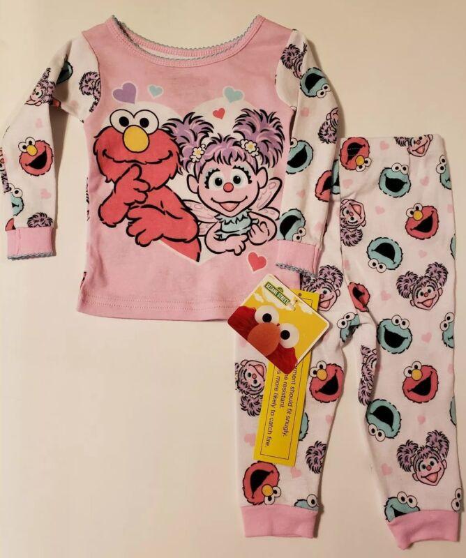 Sesame Street Toddler Girls Elmo Abby Cookie Monster 2-Piece Pajama Set NWT