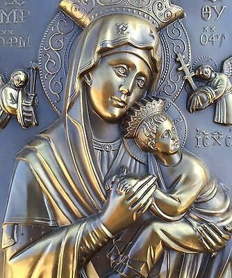 Old Beautiful Icon Mary with child Brass in oak Frame