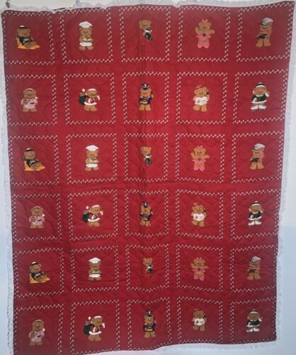 Vintage Handmade Christmas Quilt Red Teddy Bear Throw Blanket Lace Trim 41X52""