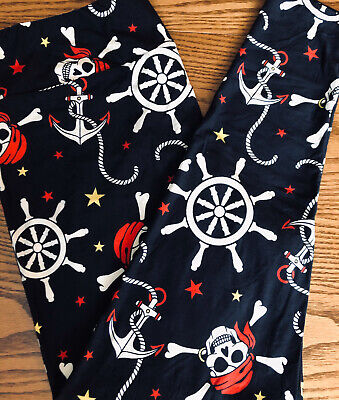 LuLaRoe TC2 Pirate Skull Crossbones Anchor Rare Black - Halloween-leggings