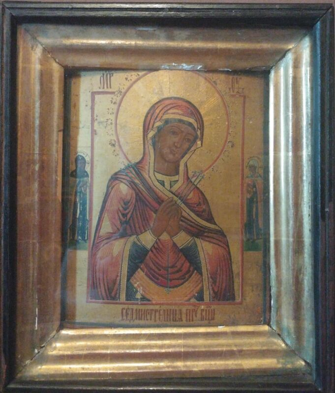 ANTIQUE 19c HAND PAINTED RUSSIAN ICON OF MOTHER OF GOD OF SEVEN ARROWS WITH KIOT