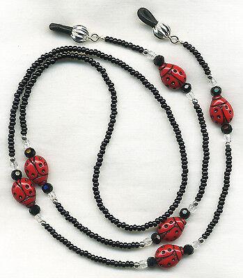 LADYBUGS & CRYSTALS Eyeglass-Glasses Holder Leash Necklace Chain CUSTOM LENGTH
