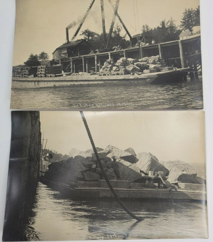 Vintage 1923 Original Photographs Of Barge Loaded With Crane in Background Rare