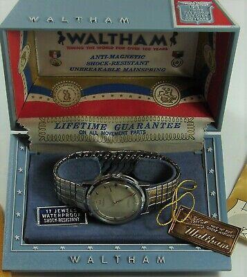 Vintage Waltham 17 Jewels Mens Wristwatch for Repair Box Waterproof