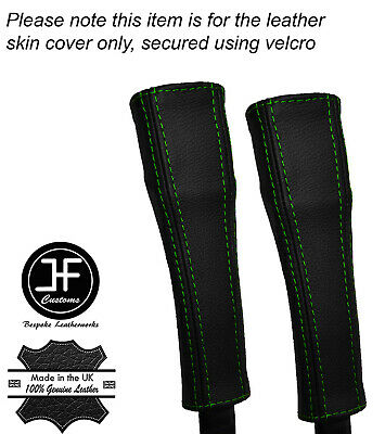 GREEN STITCH 2X SEAT BELT STALK REAL LEATHER COVERS FITS TESLA MODEL S 85 12-16