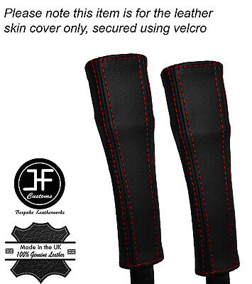 RED STITCH 2X SEAT BELT STALK REAL LEATHER COVERS FITS TESLA MODEL S 85 12-16