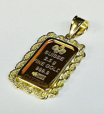 24k Fine Gold Credit Suisse 2.5gr Bullion Ingot 14k Framed Charm Rope Pendant