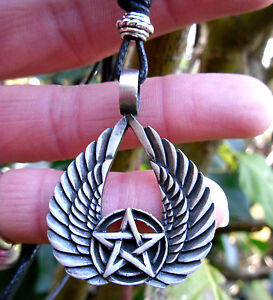 Pentacle Wing Pentagram Pendant Cord Necklace Wings Protection Amulet Talisman