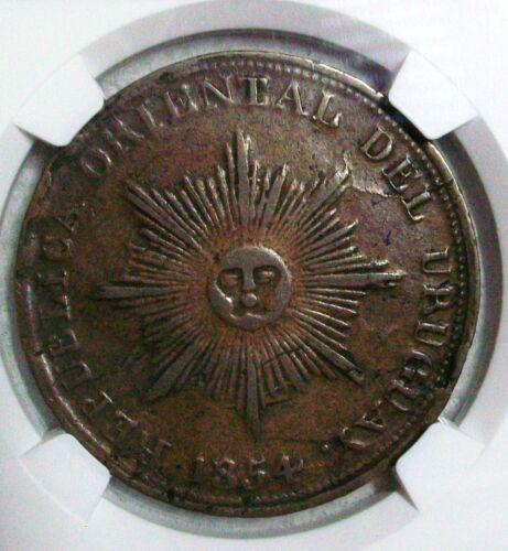 1854 URUGUAY REPUBLIC COPPER 20 CENTESIMOS NGC VF-25 BROWN L@@K