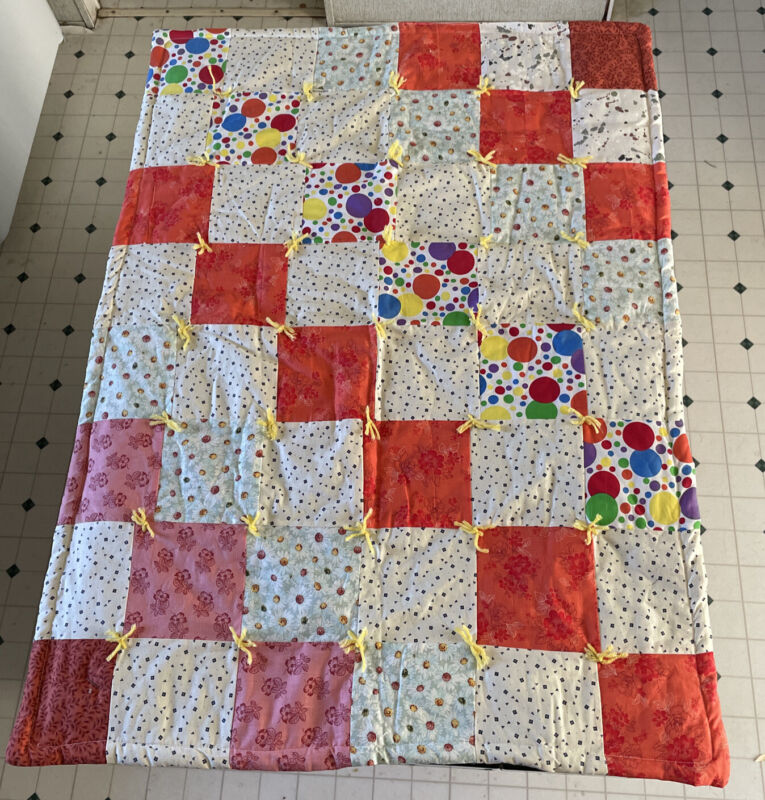 """2 Vintage Baby Quilt Circus  + Multi Color 43""""x31"""