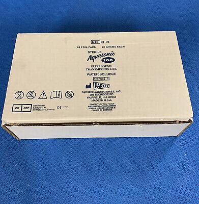 Parker Aquasonic 100 Ultrasound Sterile Transmission Gel Box Of 48 Foil Pacs