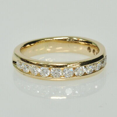 Gents Mens 14k Yellow Gold 1Ctw Channel Set Diamond Wedding Band Ring  14k Gents Wedding Band