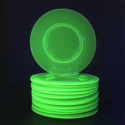 "Set of Twelve 12 Vintage Green 8 1/2"" Uranium Glass Plates /g"