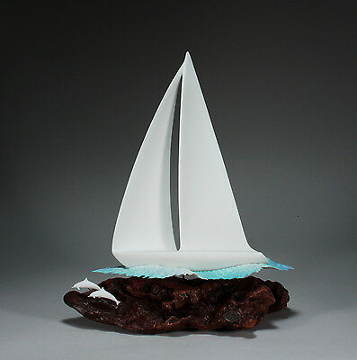 SAILING/BOAT/YACHT Statue New direct from JOHN PERRY Figurine Decor on Wood