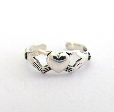 Sterling Silver Plain heart Claddagh dainty adjustable toe ring