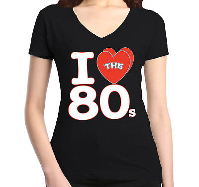 I Love The 80s Women's V-Neck T-shirt Retro 80s Party Fans Disco Costume Tee