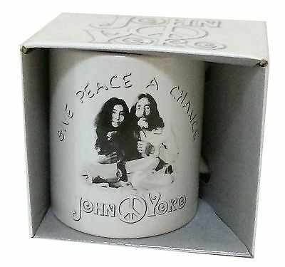 John Lennon Yoko Ono Give Peace a Chance Coffee Mug Cup New Official 2010 NOS