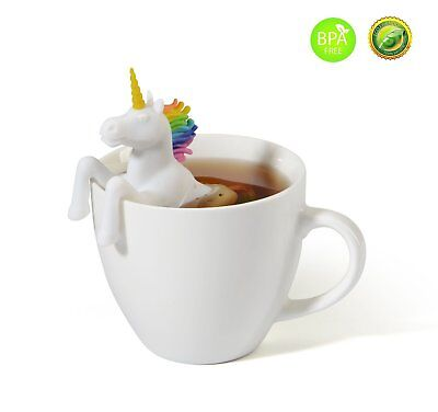Rainbow Unicorn Gift Set Loose Leaf Tea Infuser Filter Strainer Cute Fun Festive ()