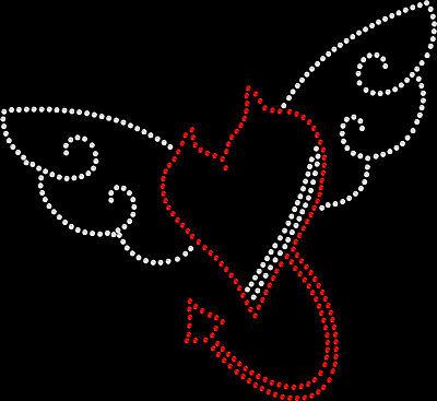 Rhinestone Bling Sparkle Iron On Transfer DIY Devil Heart Wings