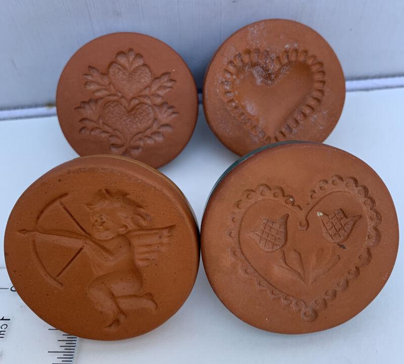 Vintage Lot - 4 Ryraft Cookie Stamps - Valentines Day - Cupid, Hearts