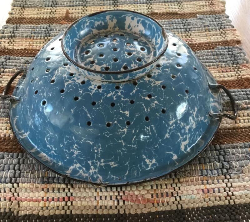 Vintage Blue Swirl Enamelware Graniteware Kitchen Strainer Colander