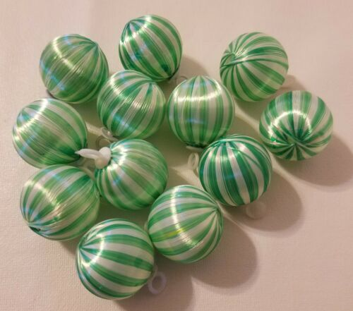 "VTG Lot of 12 Green White Striped Satin Christmas Ball Ornaments 1"" 25mm Craft"