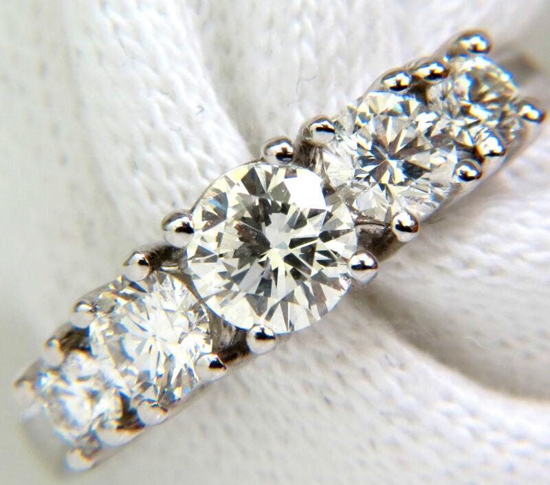 █$6500 1.20CT DIAMONDS BAND 5 STONE RING 14KT H/VS █
