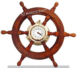 Boat Ships Captains Nautical Ship Wheel Porthole Wall Clock Steering Wheel Watch