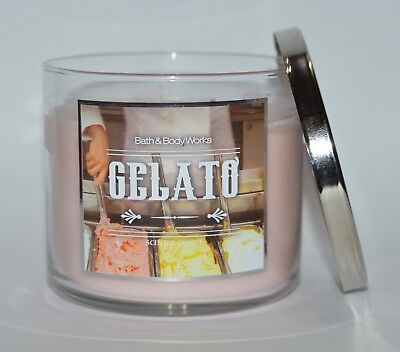 Ice Cream Scented Candle - NEW BATH & BODY WORKS GELATO SCENTED CANDLE 3 WICK 14.5OZ LARGE PINK ICE CREAM