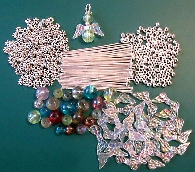 12 / 24 GUARDIAN ANGELS / FAIRY CHARMS / WINGS - GLASS BEADS - DIY KIT