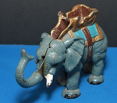 Vintage Blue Cast Iron Elephant Bank, Possible Hubley