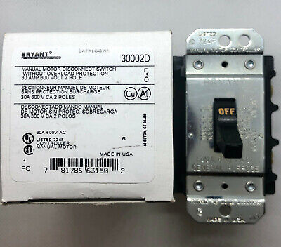 Bryant 30002d Manual Motor Disconnect Switch 30 Amp. 600 Volt 2 Pole