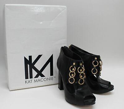 KAT MACONIE Ladies Black Leather Peep Toe Ring Ophelia Shoe Boots UK6 EU39