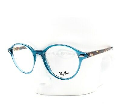 Ray-Ban RB 7118 8022 Round Eyeglasses Glasses Crystal Blue / Brown Havana (Ray Ban Eyeglasses Blue)