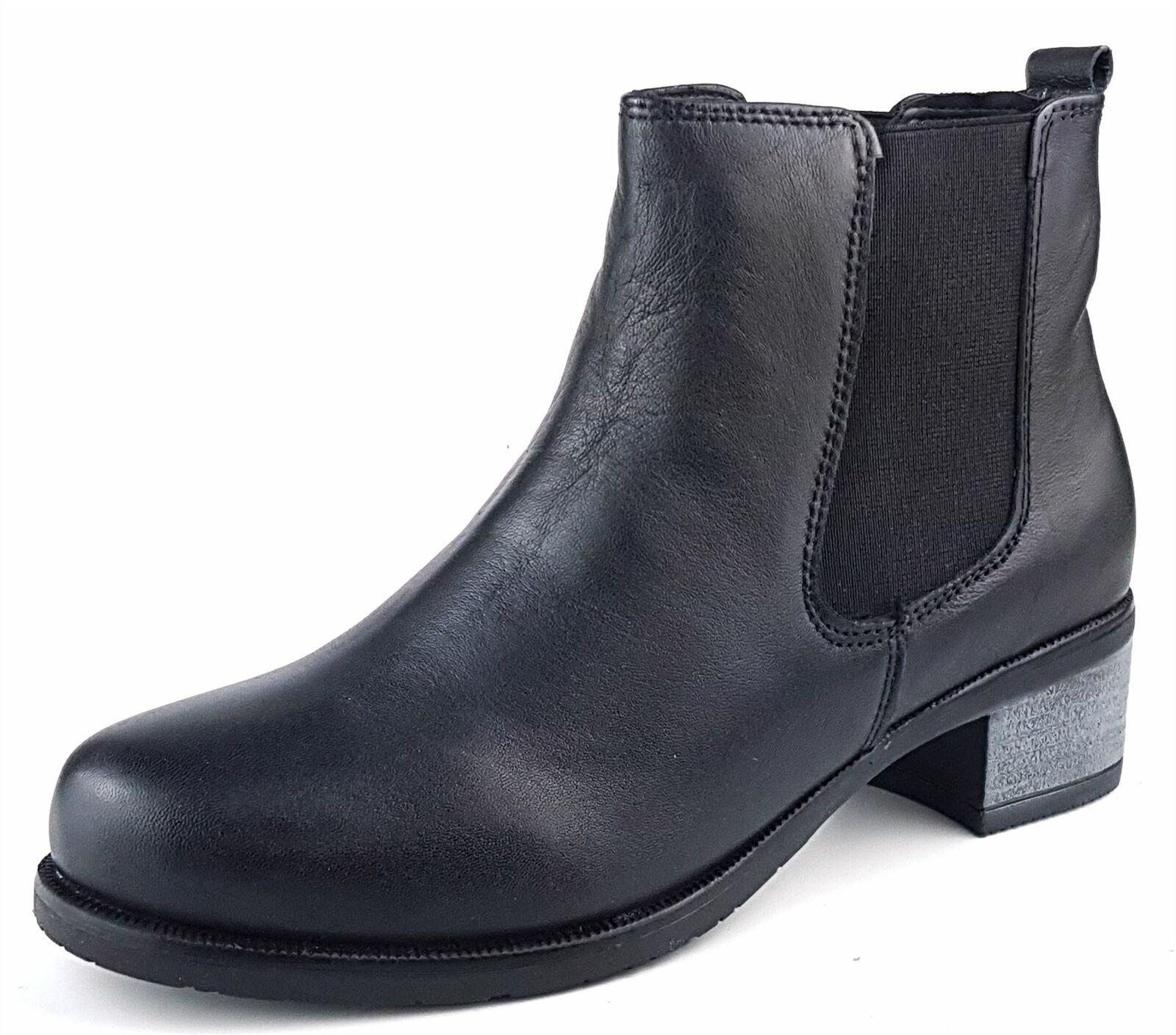 Frank James Towcester Ladies Womans Black Leather Chelsea Pull Ankle Heel Boots