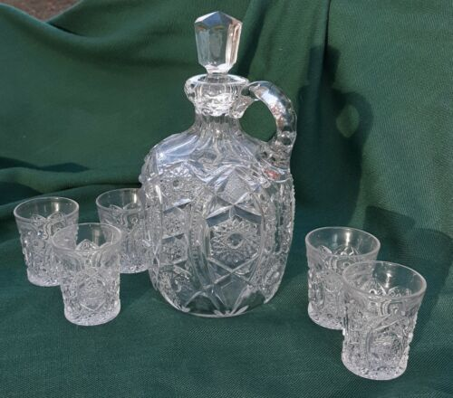 Antique Pressed or Cut Glass Whiskey Jug Decanter Set w/ Stopper and cups