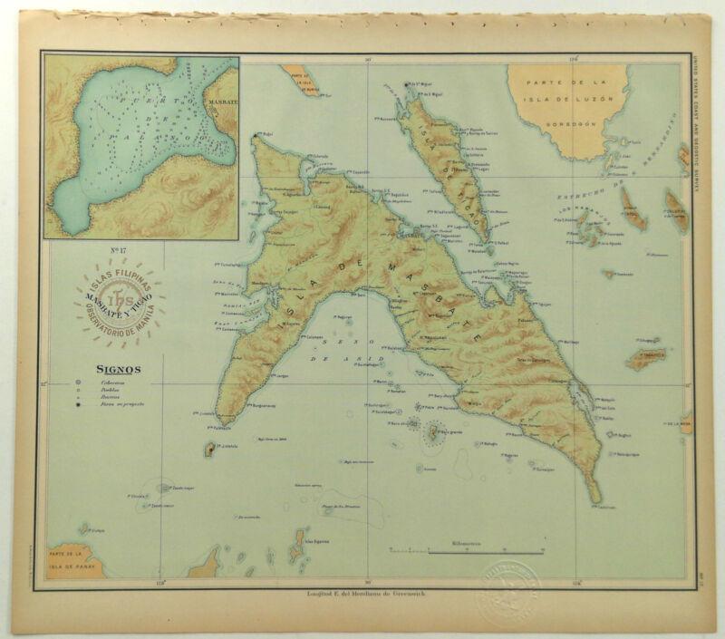 1899 Official US Navy Map Philippine Islands Masbate Ticao Puerto De Palanog