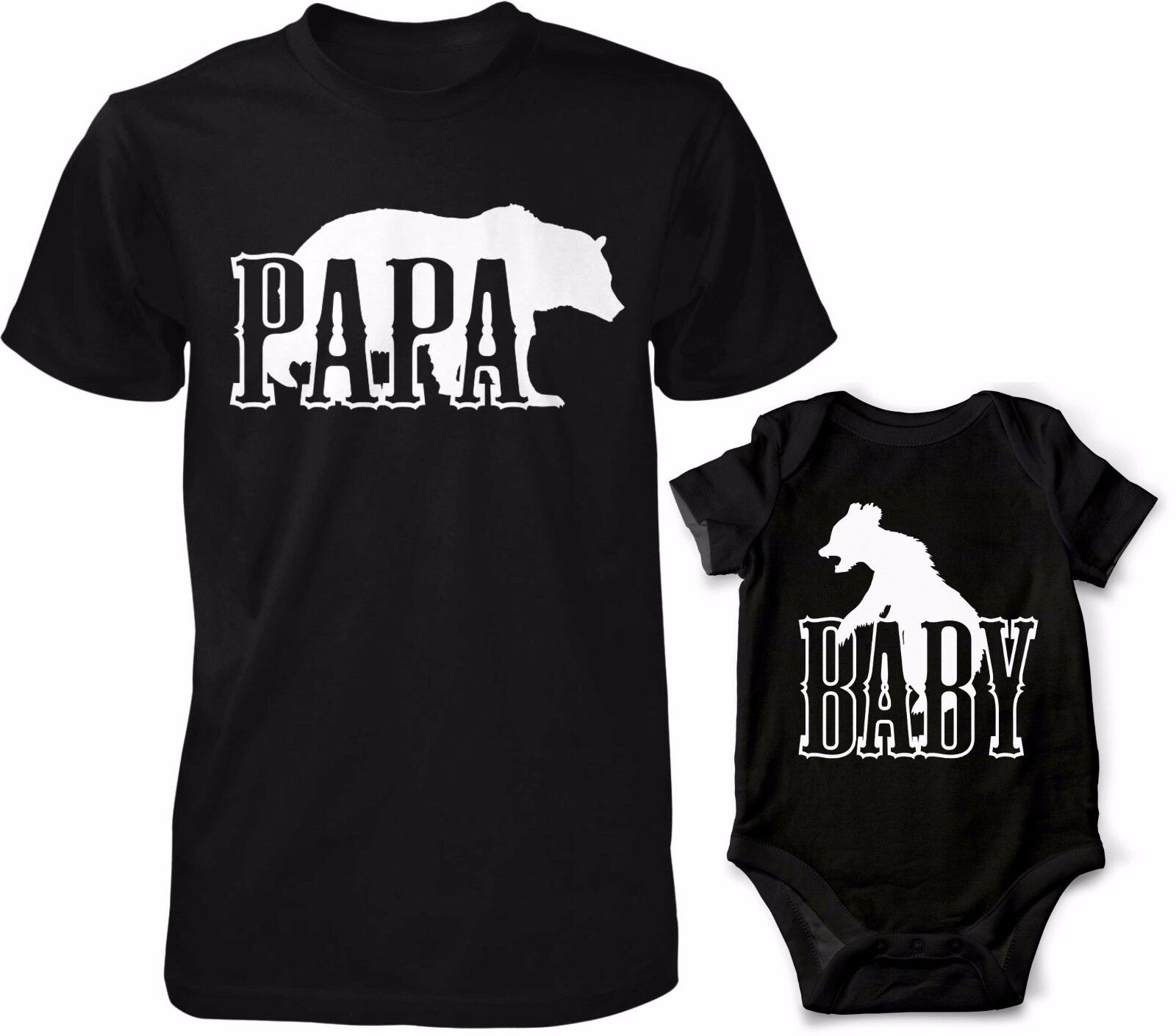 Papa Bär T-Shirt mit Baby Bär Body Kombo Vater Kind Shirt Fun Sprüche Lustig