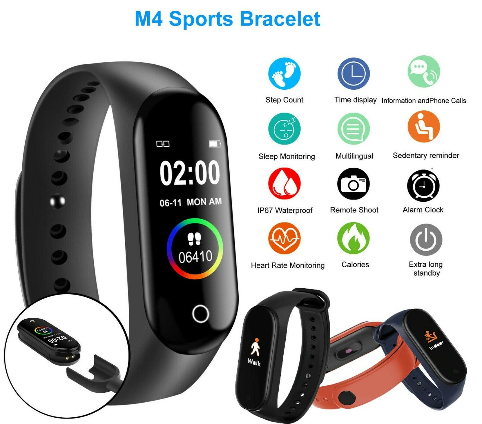 m4 smart watch band heart rate blood