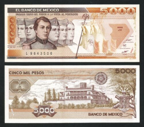 Mexico 5000 Pesos 1987 , UNC , P-88b , Serie JH