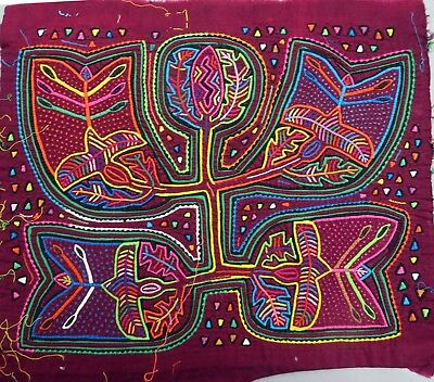 ORIGINAL ABSTRACT MOLA LEAVES BIRD FLOWER MOTIF ETHNOGRAPHIC ART by KUNA WOMEN