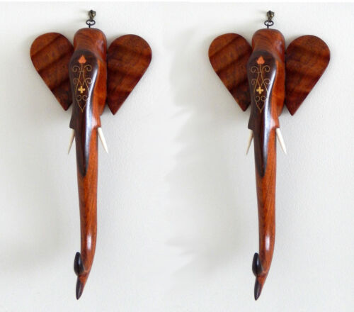 Elephant Decorative Wooden Carvings/  Set of 2 / Wall Hangings Wood