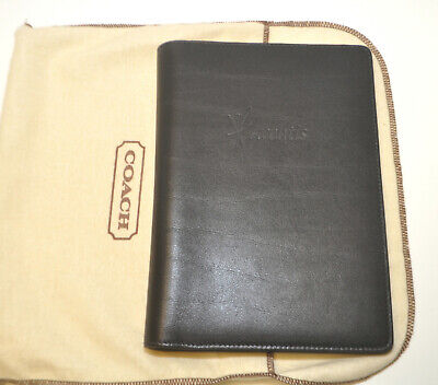 Authentic Coach Bown Leather Notebook Binder Document Organizer 8.5 X 6 New